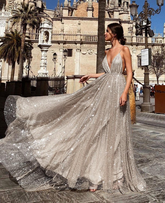 Robes De bal 2019 V cou rose Tulle balayage Train sans manches robe De soirée a-ligne Slivery dos nu Vestido De