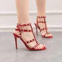Shoes Women Heels 2019 Ladies Pumps Red Heels Rivet Shoes Woman High Heels 34 35 Roman Sandals Summer Shoes Sexy Party Heels