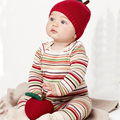 Autumn and winter cartoon earmuffs cap baby knitting purified cotton red apple hat male female children with no brim kniting cap