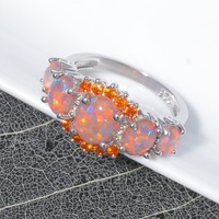CiNily Orange Fire Opal Orange Garnet Silver Plated Ring Wholesale Wedding Party Gift for Women Jewelry Ring Size 5-12 OJ4576 4