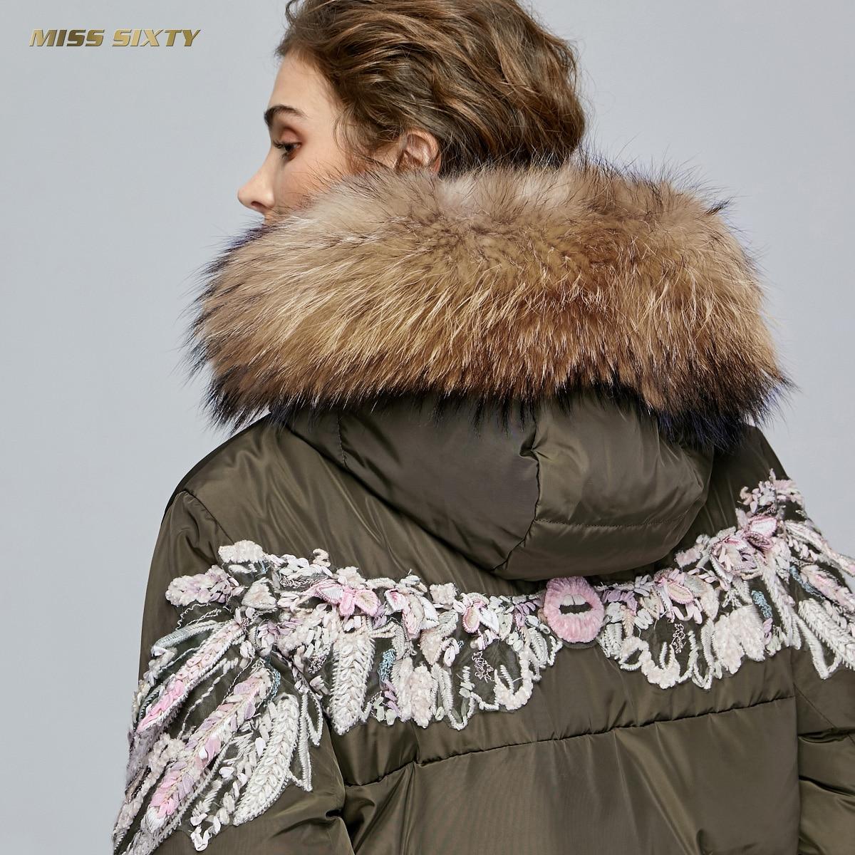 Miss Brand 2018 winter jacket women   down   jackets angel wings embroidered women's Raccoon fur hooded   down     coat   outerwear parka