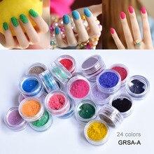 купить GRSA 24Boxes 3D Flocking Velvet Powder Villus Powder for Nail Art-Free Shipping Wholesale (fashion 24colors)Velvet Powder дешево