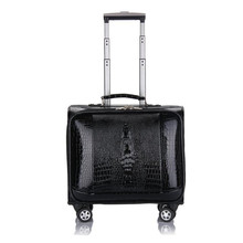 DANXILONG 16 20 INCH PU Leather Business Trolley Case Men's Suitcase Bags Travel Luggage Rolling Crocodile sample Bag koffers