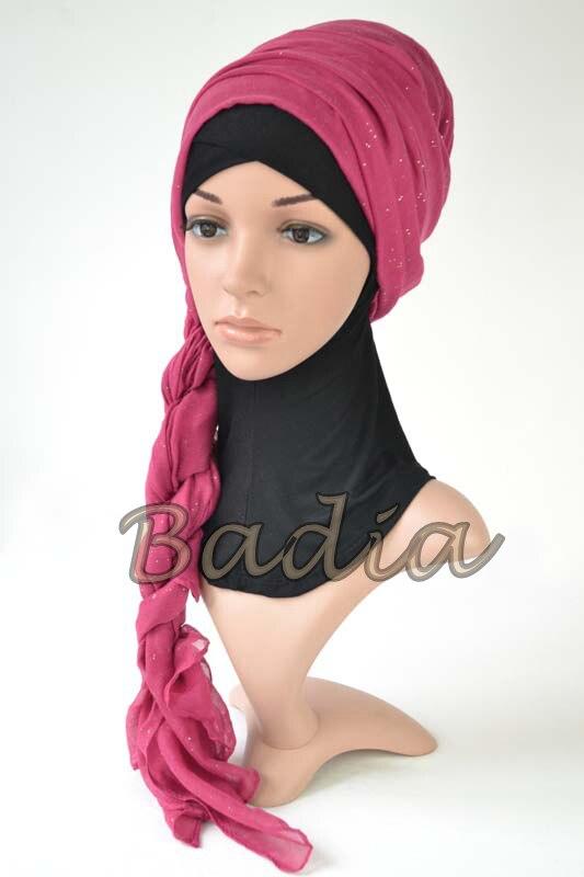 Цельный хиджаб шарф женский Макси-шали вискоза Блестящий исламский однотонный шарф хиджаб головной убор длинный кашне в мусульманском стиле