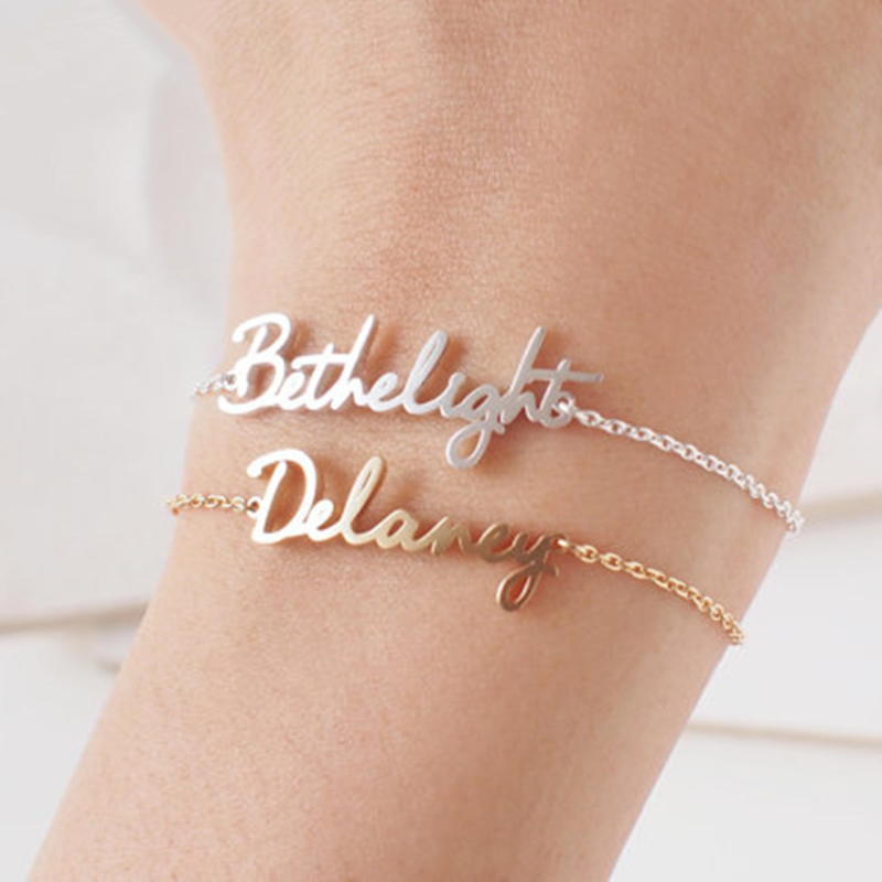 Stainless Steel Charm Personamized Name Bracelets For Women Custom Birthday Gift Rose Gold Color Arabic Islamic Jewelry