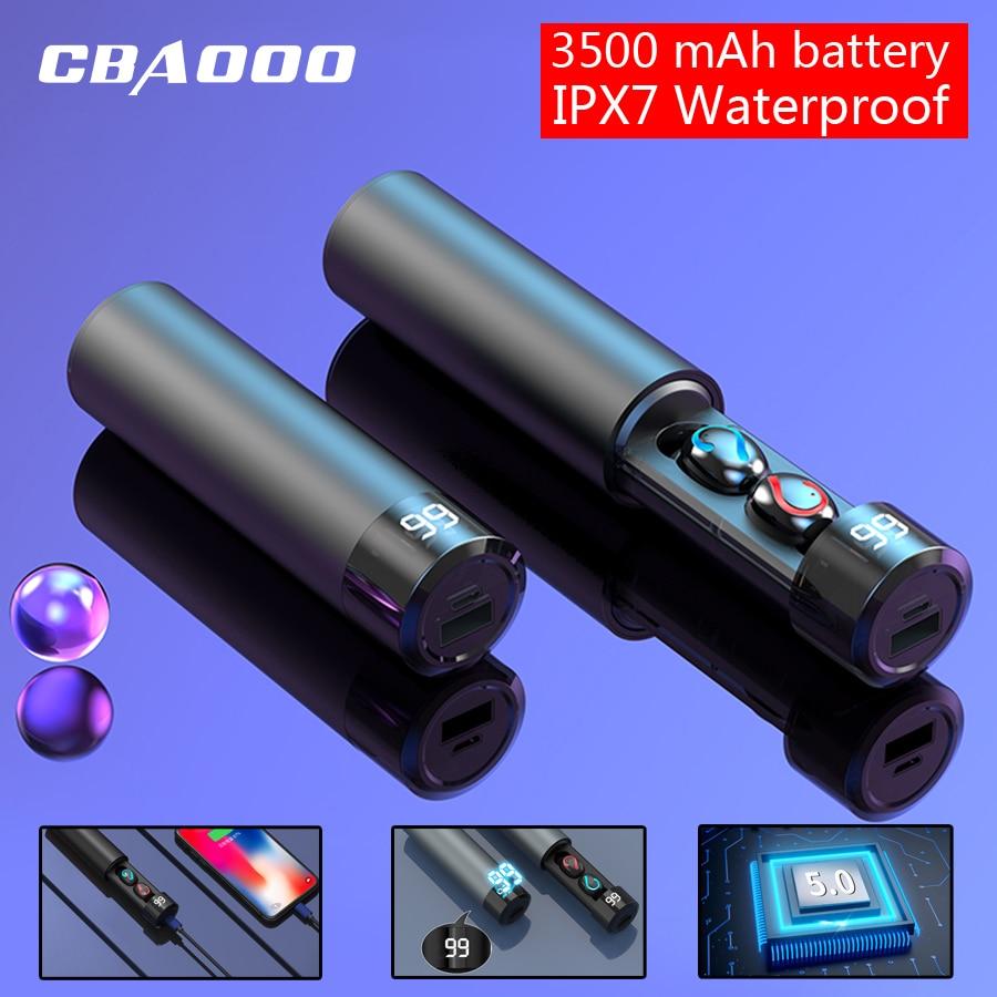 CBAOOO TWS 5.0 Bluetooth 8D Stereo Earphone Wireless Earphones IPX7 Waterproof Earphones Mini Headset With 3500mAh Power Bank