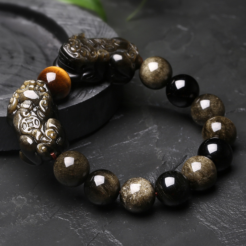 Natural Gold Obsidian Stone Bracelet With Tiger Eye And Double Pixiu Bracelet Lucky Brave Troops Charms Women And Men Jewelry