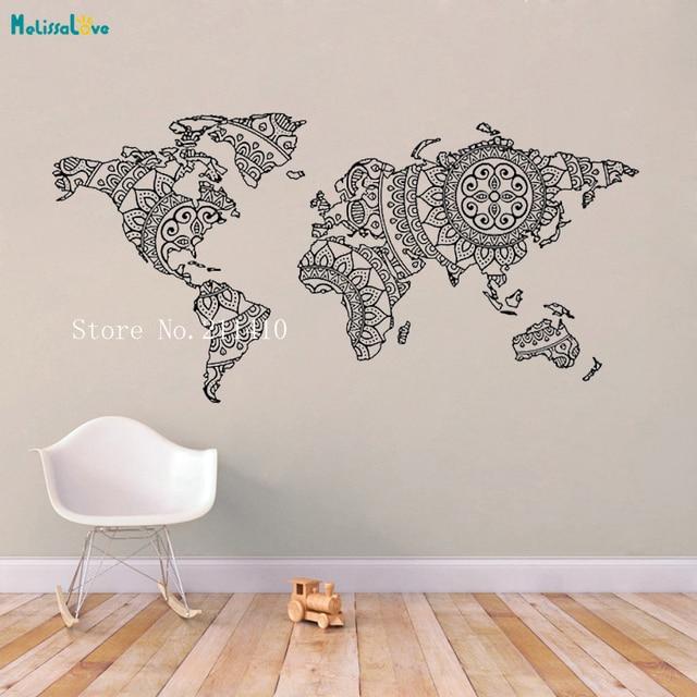 Mandala Simple World Map Vinyl Wall Sticker Stylish Artistic Decals