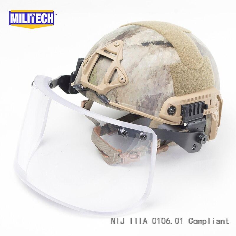MILITECH Atacs AU Deluxe NIJ IIIA FAST Bulletproof Helmet and Visor Set Deal Urban Camo Ballistic Helmet Bullet Proof Mask Pack