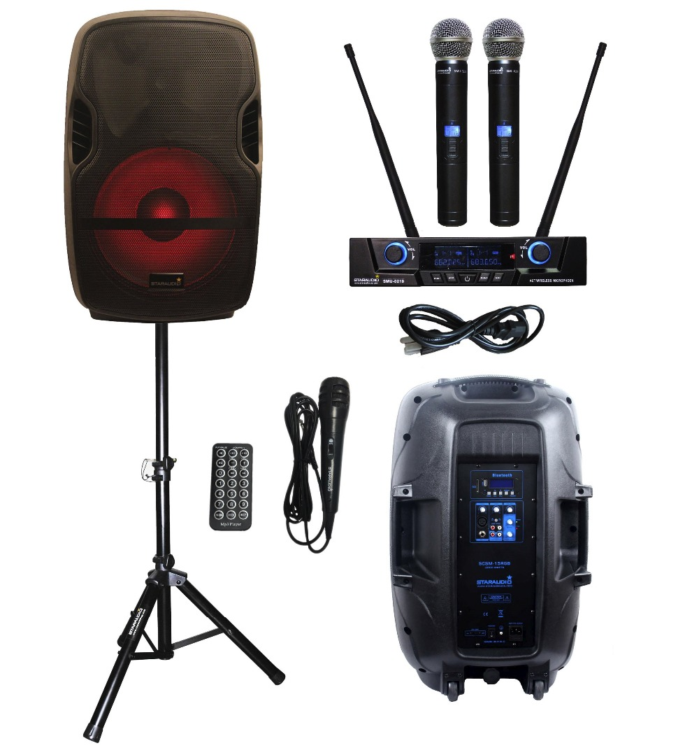 STARAUDIO SCSM-15RGB Portable 152000W PA DJ Stage Karaoke Powered Active Bluetooth Speaker W/LED Light Stand 2CH Mic System