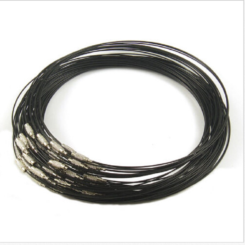 Wholesale 50pcs/lot Black Necklace <font><b>1mm</b></font> Steel Wire <font><b>Cable</b></font> Cord Rope Chain Choker Necklace 18inch Jewelry DIY Finding Free Shipping image