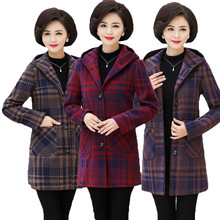Женское твидовое пальто зимняя куртка Женский шерстяной пиджак с капюшоном винтажная весенне-осенняя женская одежда больших размеров 5XL V841
