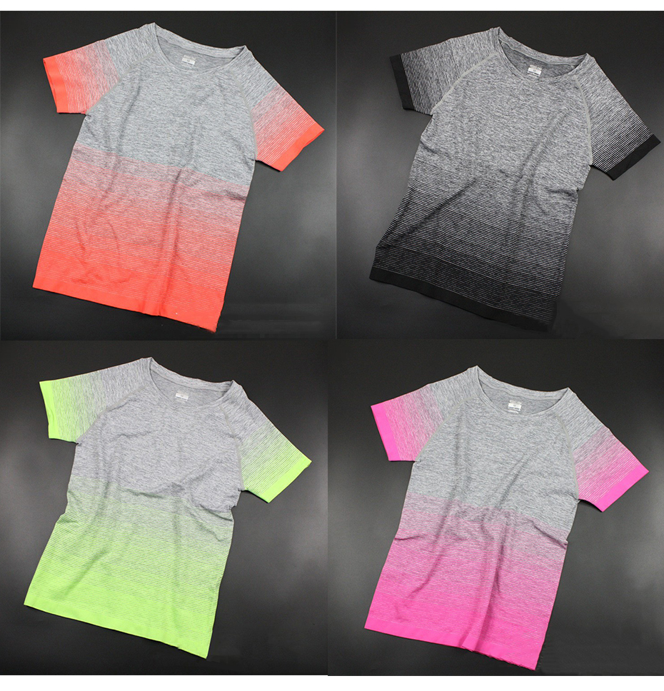 camiseta manga roupas de fitness camisetas e topos deporte mujer p096