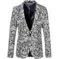 Мужчины печатные пиджаки 2016 мода цветочный узор тонкой длинным рукавом пиджак весна осень свободного покроя цветочные пиджаки M-6XL размер 159