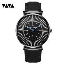 VA VA VOOM 40FS full black cool mens wristwatch quartz movement sports 2018 luxury brand shark new dw style leather montre homme