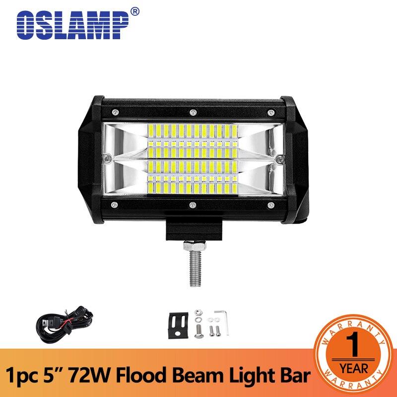 Oslamp 1 pc 72 W LED Travail Lumière 5 pouce Led Feux de Travail Faisceau d'inondation LED Offroad Conduite Lumières pour Voiture led Light bar voiture-style