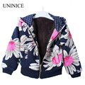 2-8T Hot Sale 2016 New Autumn Winter Girls Coat Baby Clothes Fleece Jackets Kids Print Flower Children Thick Warm Coat Hoodied