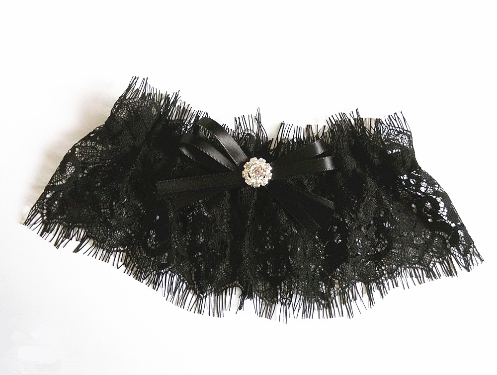 Черные тянущиеся кружевные свадебные чулки с подвязками, вечерние Подвязки для девичника, свадебные подвязки, пояс, стразы, галстук-бабочка - Цвет: Черный