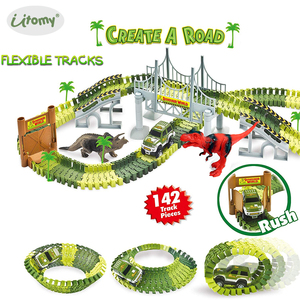 Create a Road Dinosaur and soldiers Race Car Track Train Toys,Flexible Tracks Playset with Racing Cars and Accessories for kids