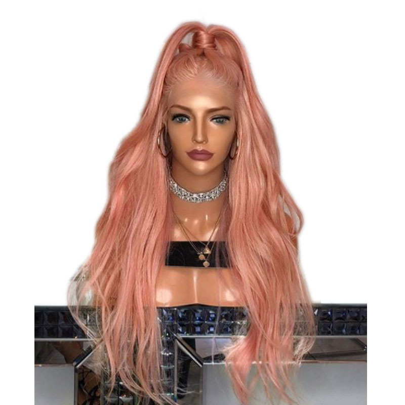 Bombshell Rose Gold Pink Natural Wave Synthetic Lace Front Wig Heat Resistant Fiber Hair Natural Hairline