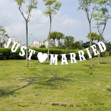 JUST MARRIED Vintage Banner uroczy napis 3m