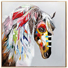 Hand Painted Acrylic Canvas Oil Paintings indian horse Modern Abstract Animal Wall Art Picture  Home Decor