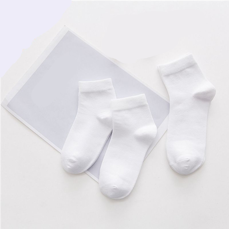 Baby White Kid Socks Spring Autumn Style Solid Thin Soft Cotton Children For Boys Girls Sport Students Socks 1Pair