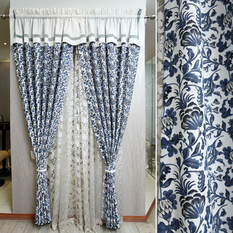 Buy Blue And White Porcelain Curtain Finished Product Curtain Fabric