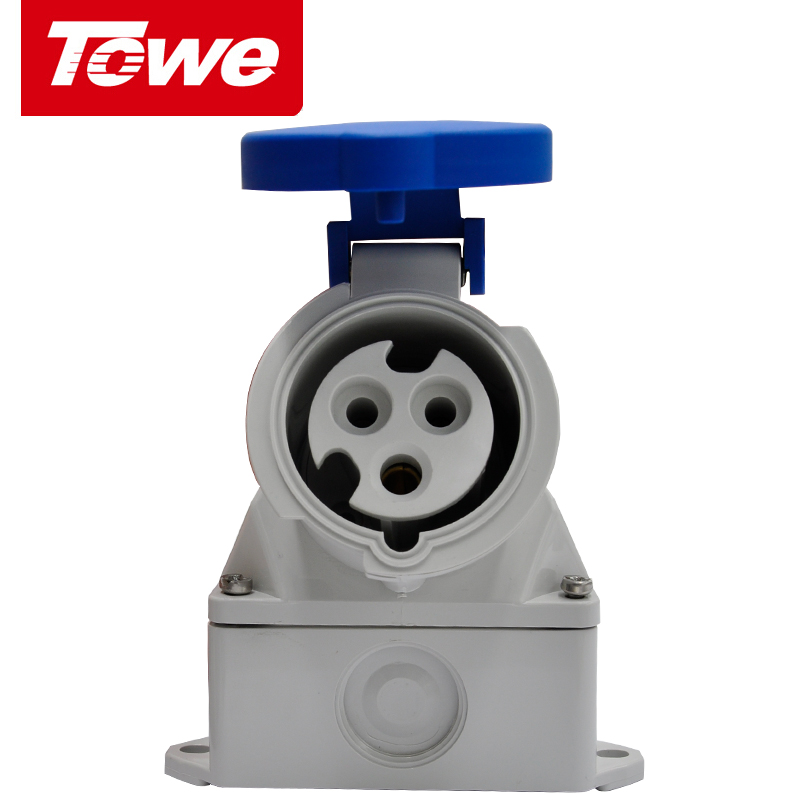 Towe Industrial Connector IPS-S316S  16A  3 Pins  2P+E  Female   IP44  Surface Mounted Socket
