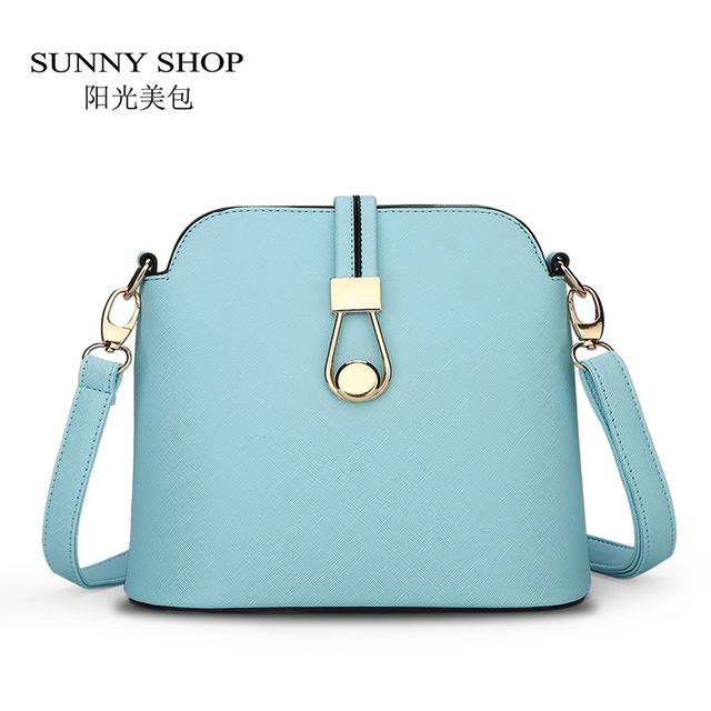 SUNNY SHOP  New Candy Color Fresh Small Women Shoulder Bag Fashion Shell Women Messenger Bag Sky Blue Beige Colors 45ZY