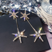 Korean Handmade Silver Needles Anti-allergy Snowflake Rhinestone Drop Earrings Dangle Fashion Jewelry-BYD5
