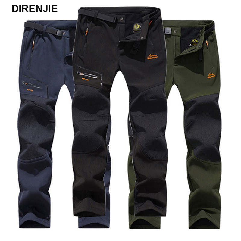 DIRENJIE Man Winter Waterproof Fishing Travel Trekking Outdoor Hiking Softshell Trousers Camping Climbing Skiing Pants 5XL Bike