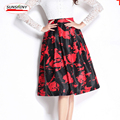 SUNSHINY Top Quality Spring Autumn Winter Ball Gown Skirt White Black Printed Vintage Chiffon Skirt  AS525