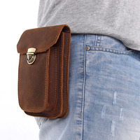 Brand New Vintage Mens Genuine Leather Small Hook Fanny Waist Bag Hip Bum Pouch Pack Male