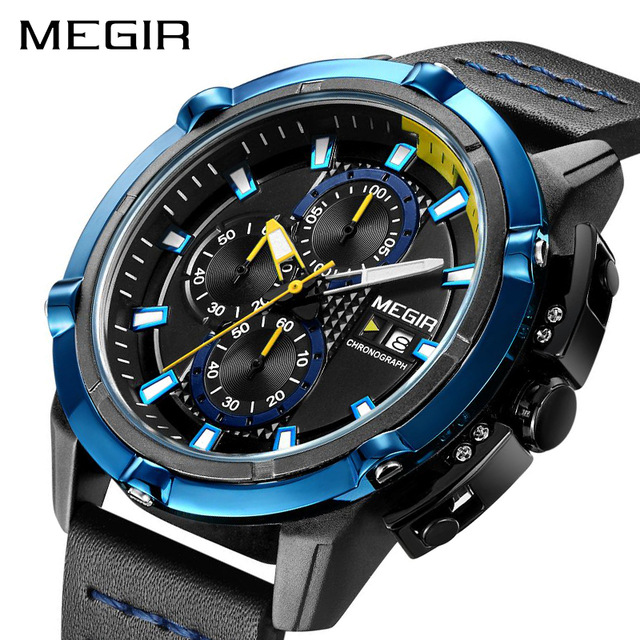 MEGIR Men Sport Watch Chronograph Leather Strap Quartz Army Military Watches Clock Men Top Brand Luxury Male Relogio Masculino jedir brand luxury watch men army military leather watches male sport waterproof watches business chronograph quartz wristwatch