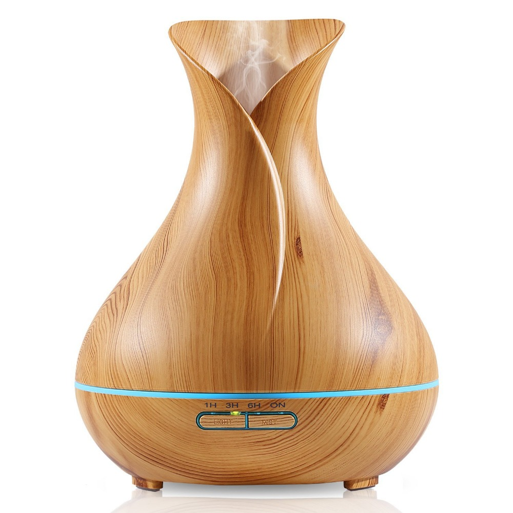 2017 Best Seller Ultrasonic Humidifier Tulip Vase Style 14W 400ML Wood Grain Cool-Mist Aromatherapy Essential Oil Diffuser