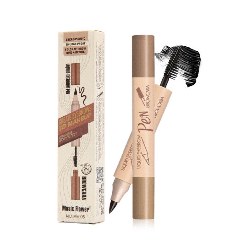 Double-End Liquid Eyebrow Pen Eyebrow Brush Waterproof Smudge-Proof Colorfast Eyebrow Enhancers