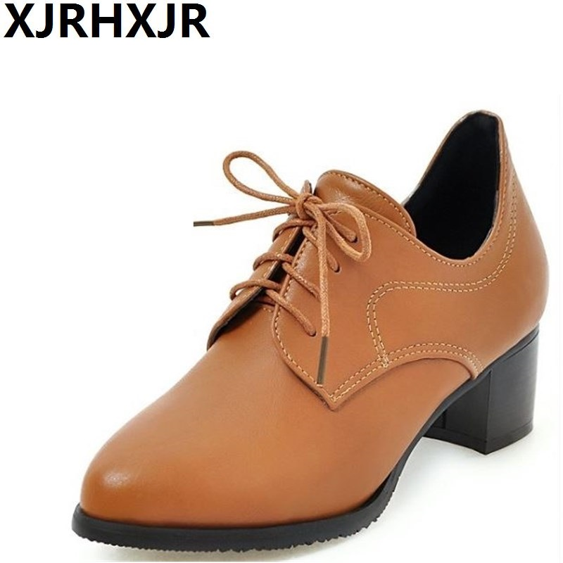 Spring Autumn Shoes Women Fashion Lace Up Ponited Toe Single Shoes British Style Square Heel Leather Shoes xiaying smile new spring autumn women pumps british style fashion casual lace shoes square heel pointed toe canvas rubber shoes