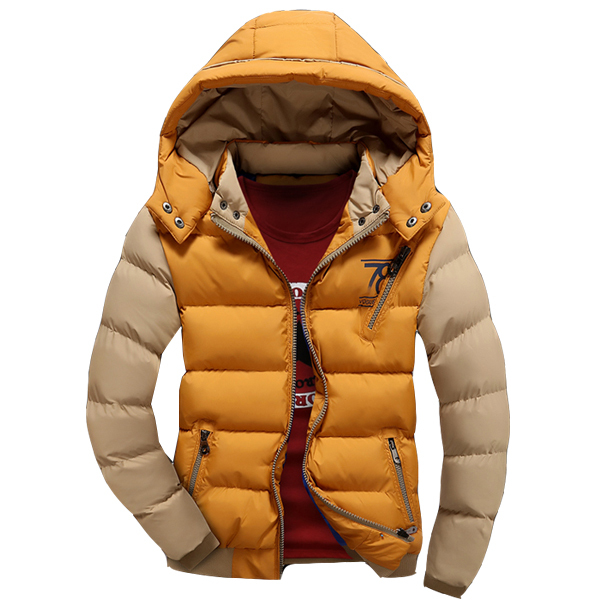 Venda quente Jaqueta de Inverno Da Marca Homens Jaqueta Casual Com Capuz Casacos Parkas Patchwork Acolchoado Jaqueta Masculina Outerwear
