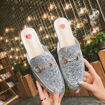 Bailehou Nuevo 2018 planos del Mule zapatos cuadrados dedo del planos pie d30d56