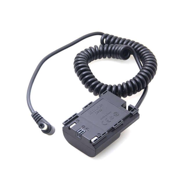 LP E6 Dummy Battery Coupler Adapter with DC Male Connector Power Coiled Spring Cable for Canon 7D 5D Mark IV III II 80D 70D LPE6