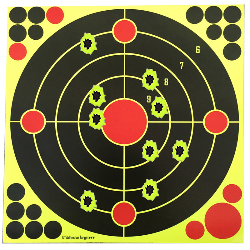 10PCS 12*12 Inch Shooting Target Accessories Bright Splash Flower Target Fluorescent Yellow Adhesive Pattern Practice