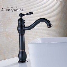 Basin Faucet Brass Bathroom Faucet Basin Tap Black Rotate Single Handle Hot and Cold Water Mixer Taps Crane Torneira C bathroom faucet into the wall cold and hot water taps embedded type mixer double handles table basin wash basin faucet torneira