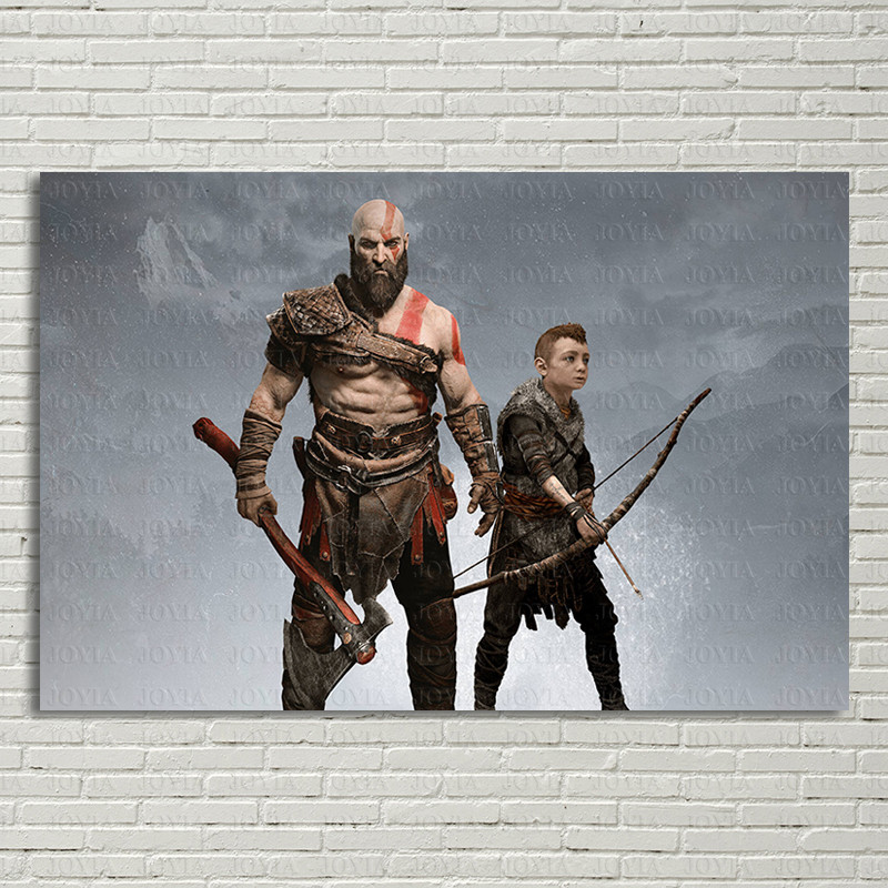 Kratos Atreus God of War Poster Video Game Wall Art Picture Home Living Decoration PS4 Canvas Fabric Prints For Bedroom