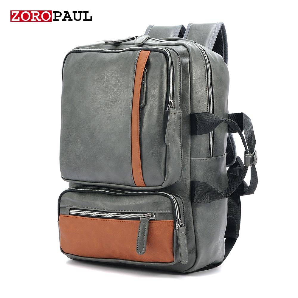 ФОТО ZOROPAUL 2017 NEW Men bagpack Backpacks Men's Fashion Backpack & Travel Male Bag Western Boys Black Bags PU Leather Backpack Men
