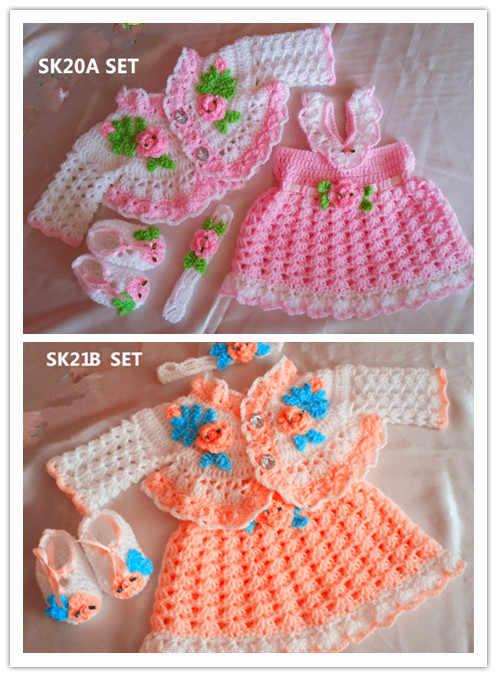 Rosebuds Bebek Elbise ayakkabı kemer Tığ iplik