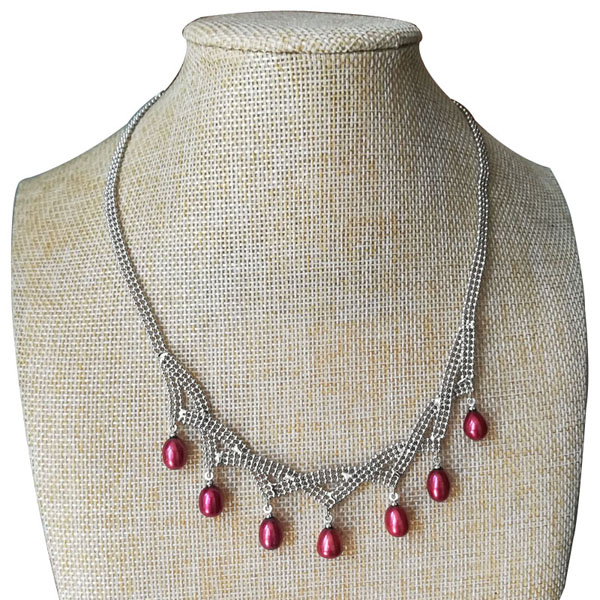 18 inches 7-8mm Red Natural Rice Pearl Fringe Necklace with Tail Chain