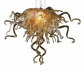 Янтарь под заказ цветная выдувная муранская стеклянная художественная светодиодная дешевая Люстра для Декор гостиничного номера