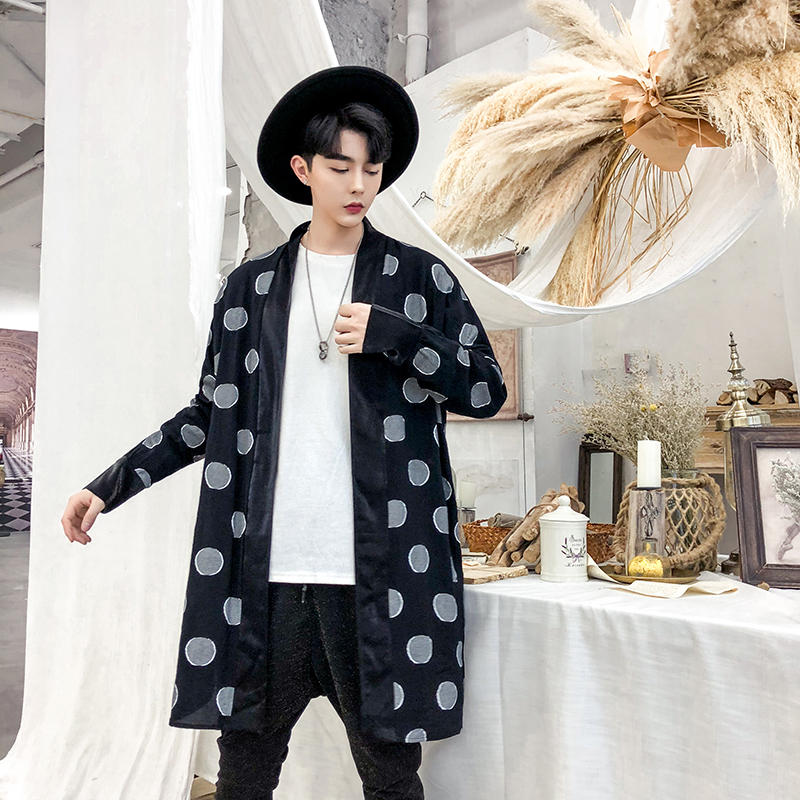 YASUGUOJI New 2019 Fashion Polka Dot Mens   Trench   Coat Jacket High Street Turn-down Collar Windbreaker Plus Size Gothic Coat