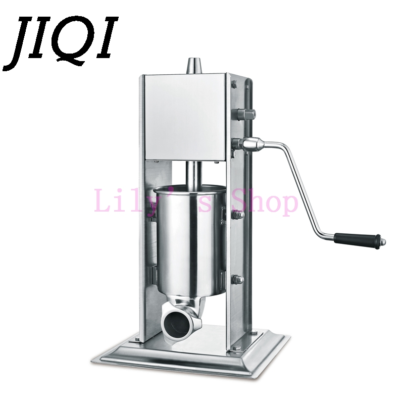 JIQI commercial Sausage Filler stuffer 3L Manual Sausage Maker Vertical portable meat extruder stainless steel filling machine jiqi manual food filling machine hand pressure stainless steel pegar sold cream liquid packaging equipment shampoo juice filler